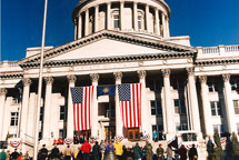 Large Flags Hanging in Front of Utah State Capital 1997 Inaugration of Mike Leavitt