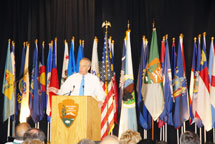 Flags from Every State Decorate the Stage at a recent National Park Service Convention - Secretary of the Interior Dirk Kempthorne Speaking